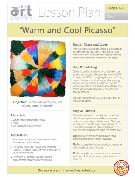 Warm Cool Picasso lesson Plan