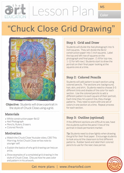 chuck close portrait drawing free lesson plan download the art of ed. Black Bedroom Furniture Sets. Home Design Ideas