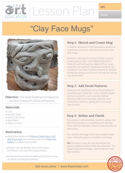 clay face mugs free lesson plan download the art of ed. Black Bedroom Furniture Sets. Home Design Ideas