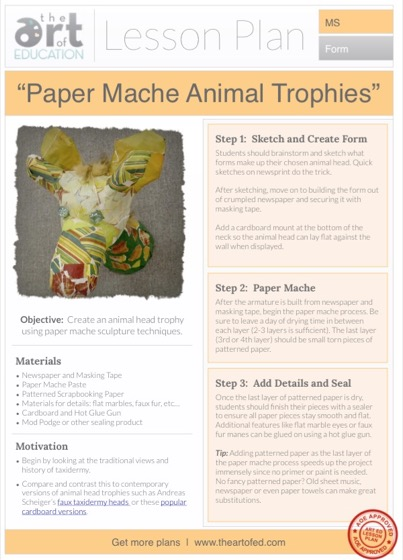 Paper Mache Animal Trophies: Free Lesson Plan Download - The Art of Ed