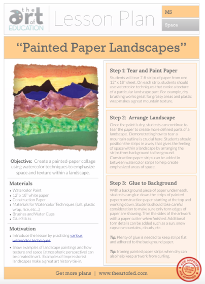 painted paper landscape free lesson plan download the art of ed