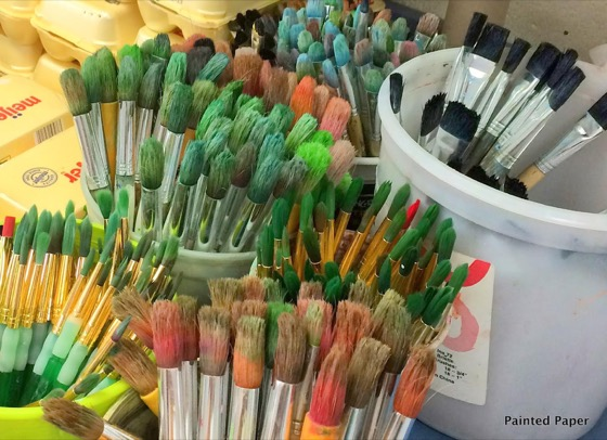 painted paper paintbrushes