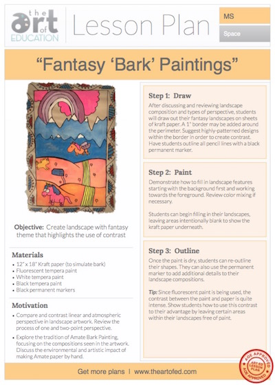 """Fantasy """"Bark"""" Paintings: Free Lesson Plan Download 