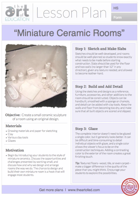 miniature ceramic rooms free lesson plan download the art of ed