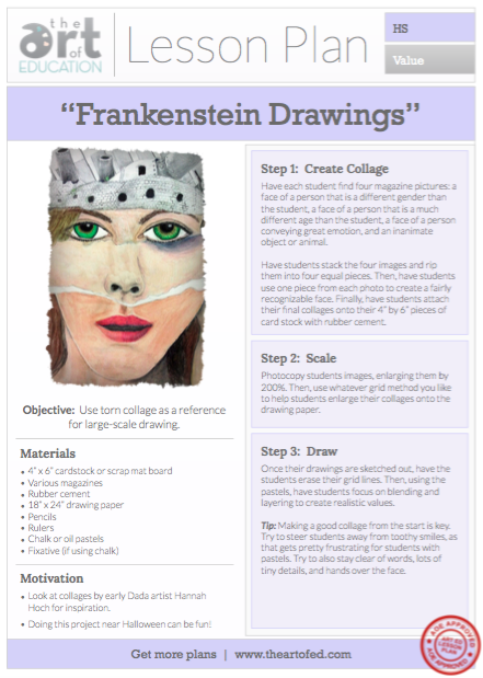Frankenstein Drawings: Free Lesson Plan Download - The Art of Ed