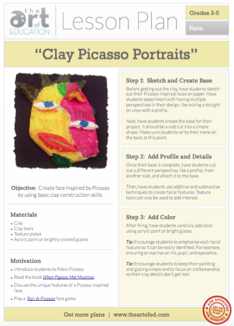 Clay Picasso Portraits lesson plan