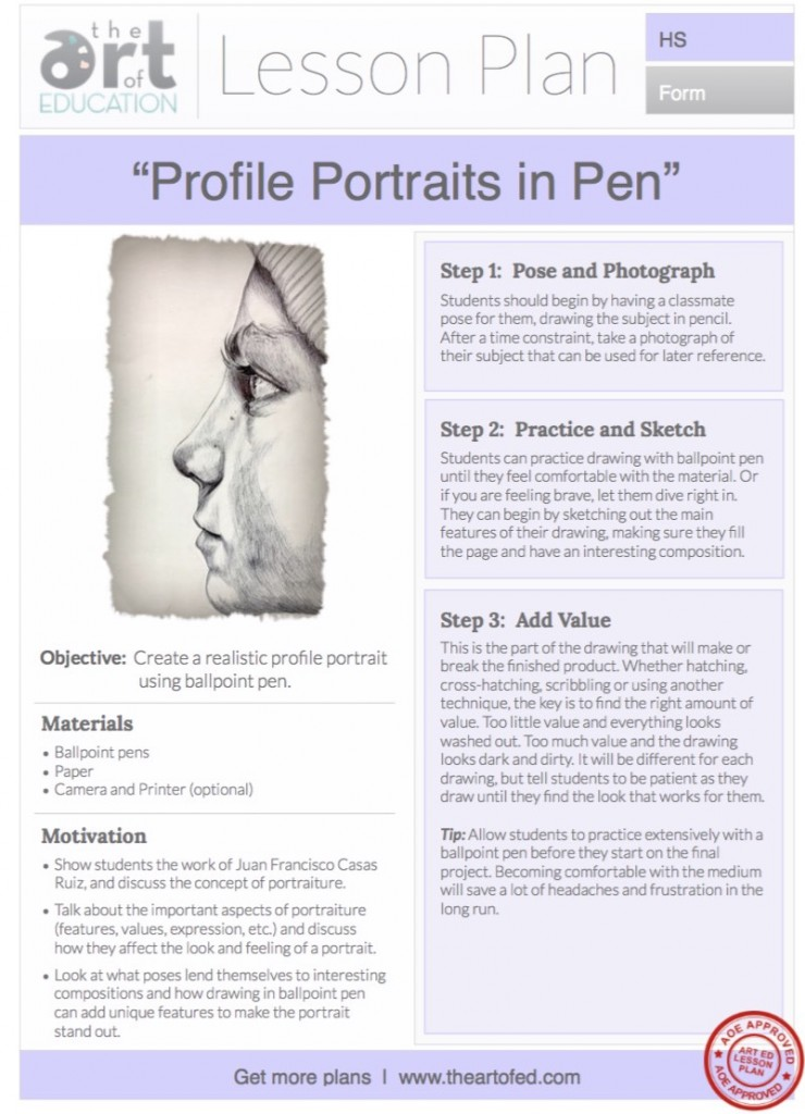 Line Drawing Lesson Plans : Profile portraits in pen free lesson plan download the