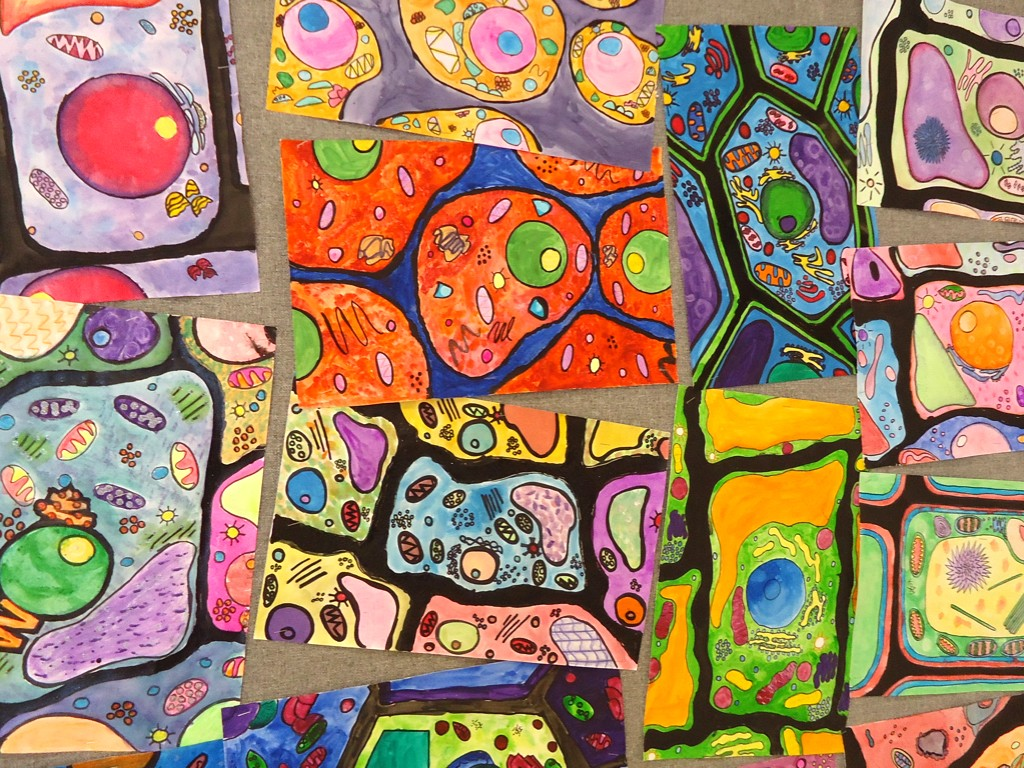 watercolor paintings of cellular structures
