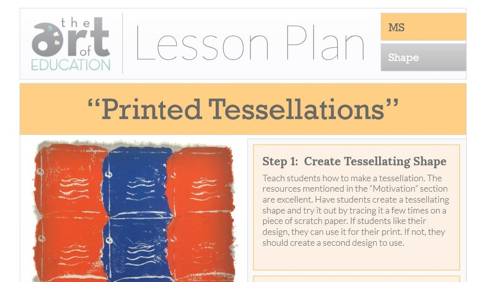 Printed Tessellations Free Lesson Plan Download The Art Of Ed