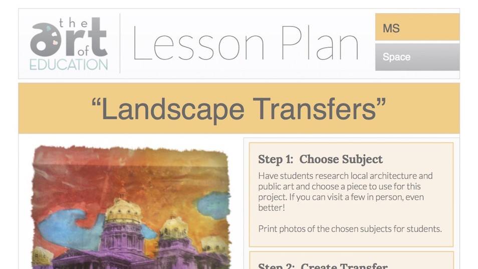 Landscape Transfers: Free Lesson Plan Download