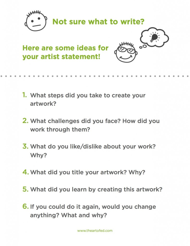 artist statement What it means to the artist: overall, this a personal statement of the meaning of the art for the artist this may be the most difficult thing for the artist to write about as it will reveal something personal about the artist.