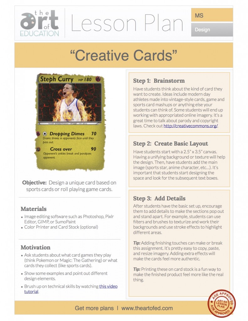 creative cards free lesson plan download the art of ed