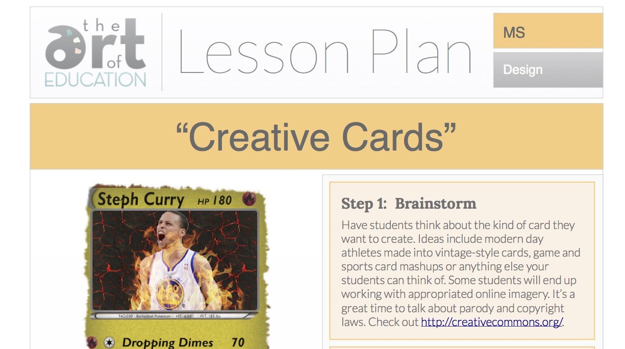 Design your own t shirt lesson plan - Creative Cards Free Lesson Plan Download
