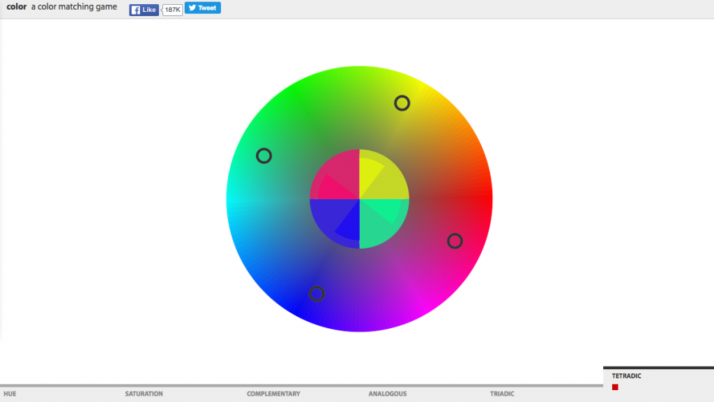 screenshot of color matching game