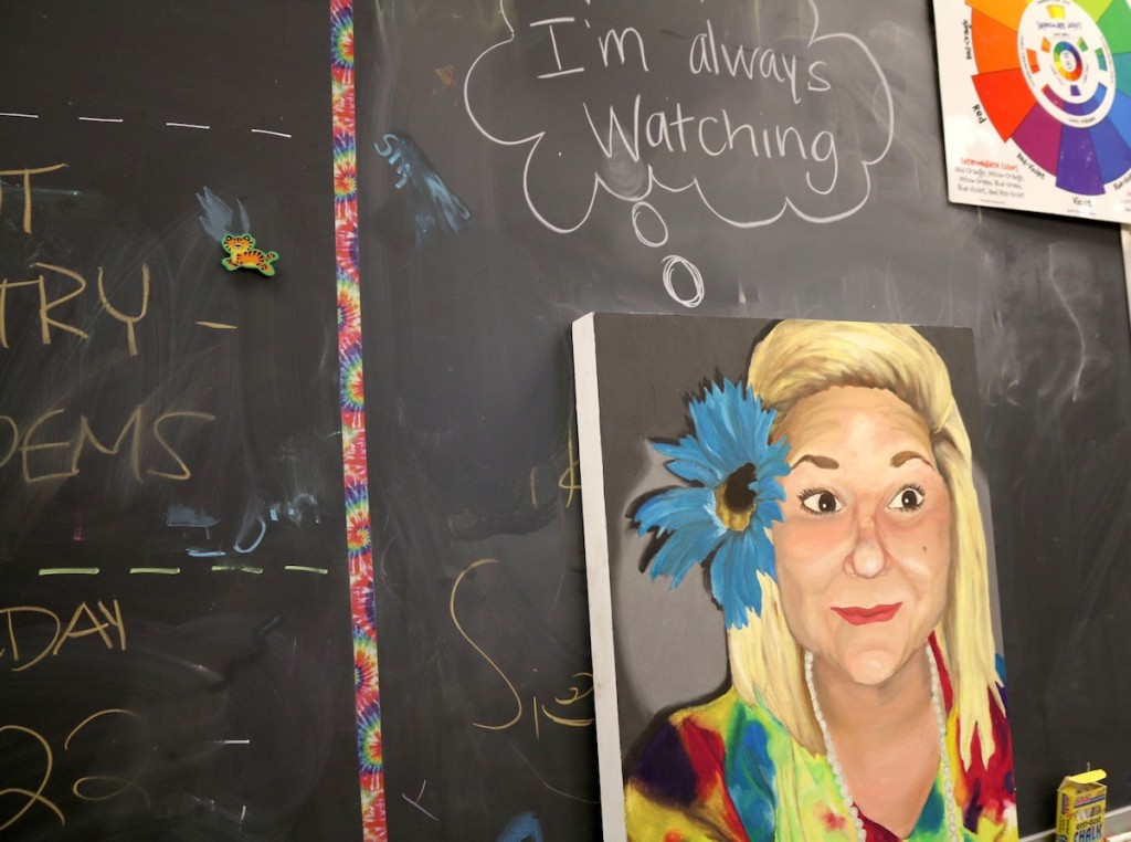 """Painting of Abby that says """"I'm always watching you"""""""