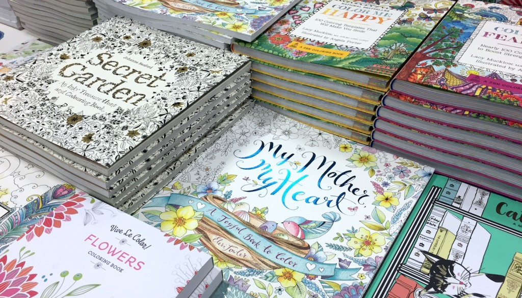 display of coloring books at the store