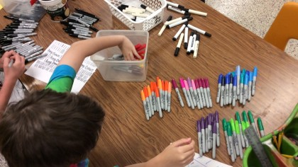 students testing markers