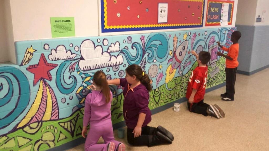 students working together on mural