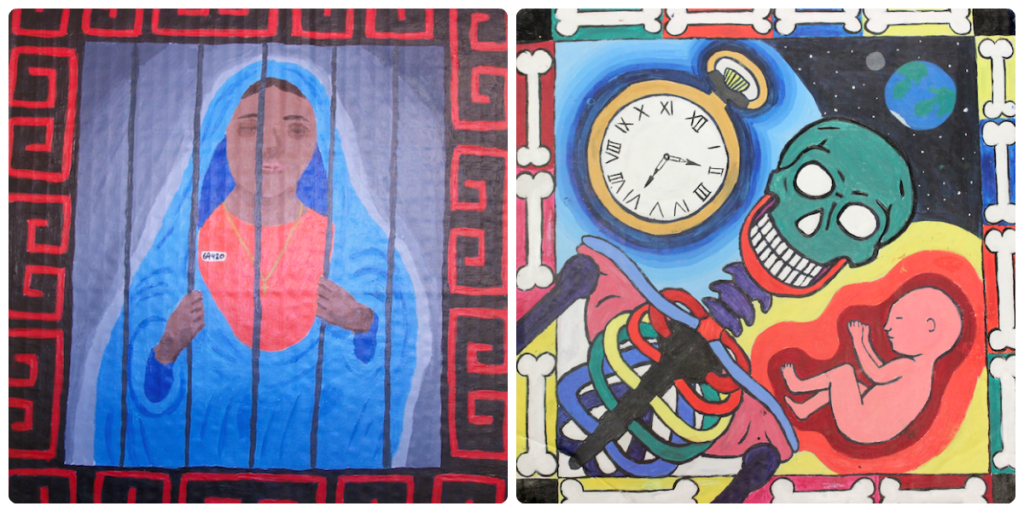 two student pieces with borders