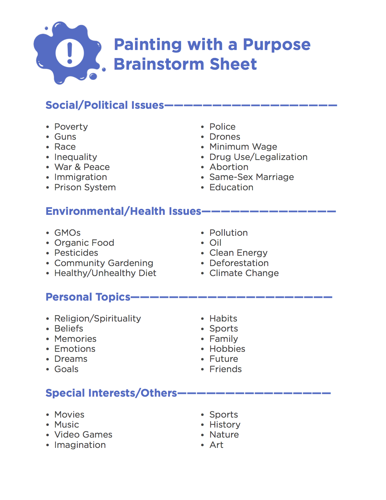 Painting with a Purpose Brainstorm Sheet