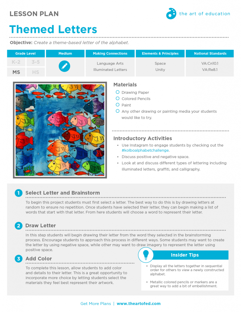 Themed Letters: Free Lesson Plan Download - The Art of