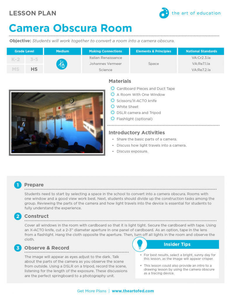 camera obscura room free lesson plan download the art of ed