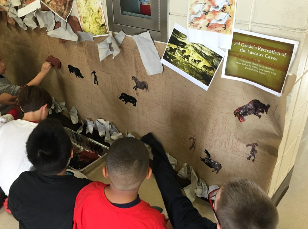 students hanging work