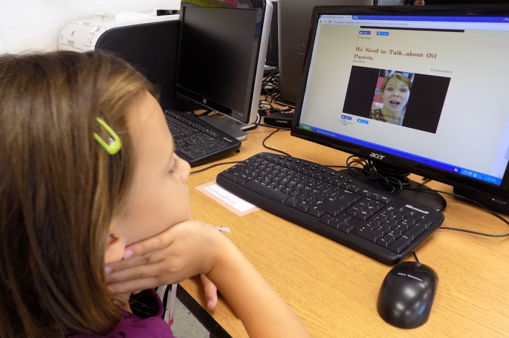 student watching a video