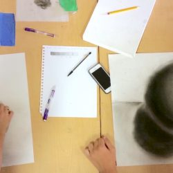 students working together to shade a sphere