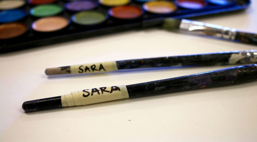 brushes labeled with student's name