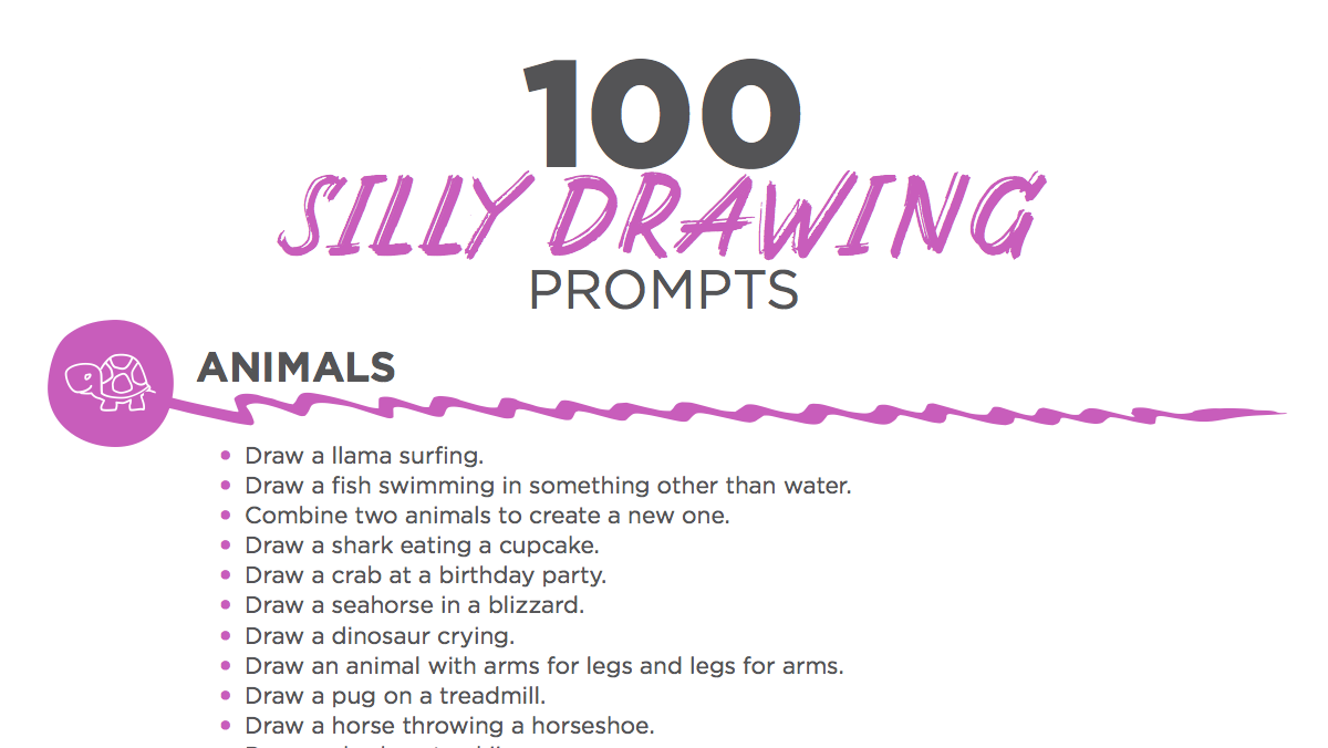 silly writing prompts Tools for teaching writing writing prompts: over 200 for practice essays, journal entries, and more persuasive and expository essay writing prompts, reader response questions and statements, and journal writing prompts for every day of the school year.