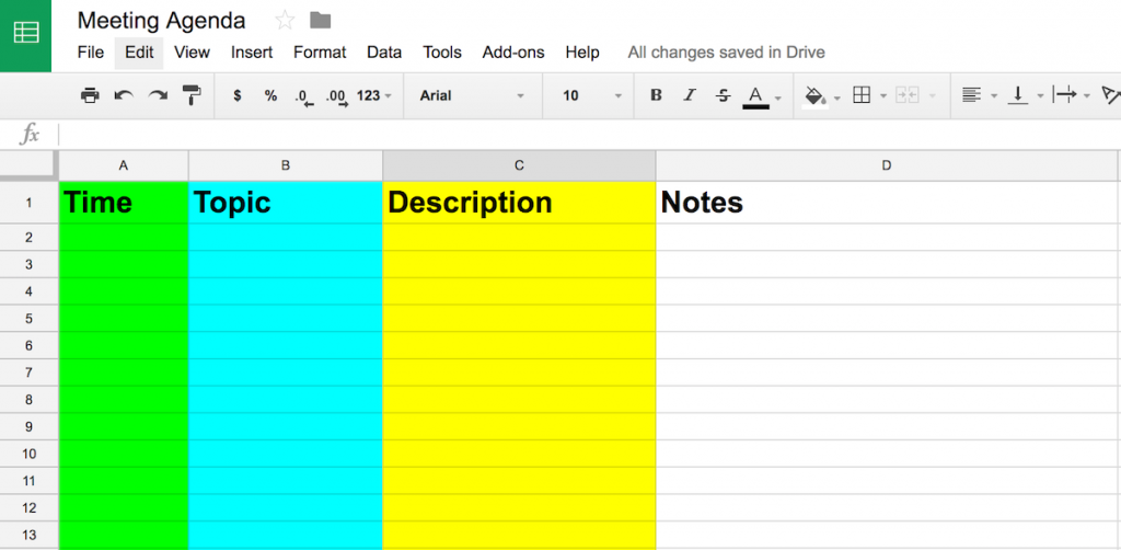 example of google sheet