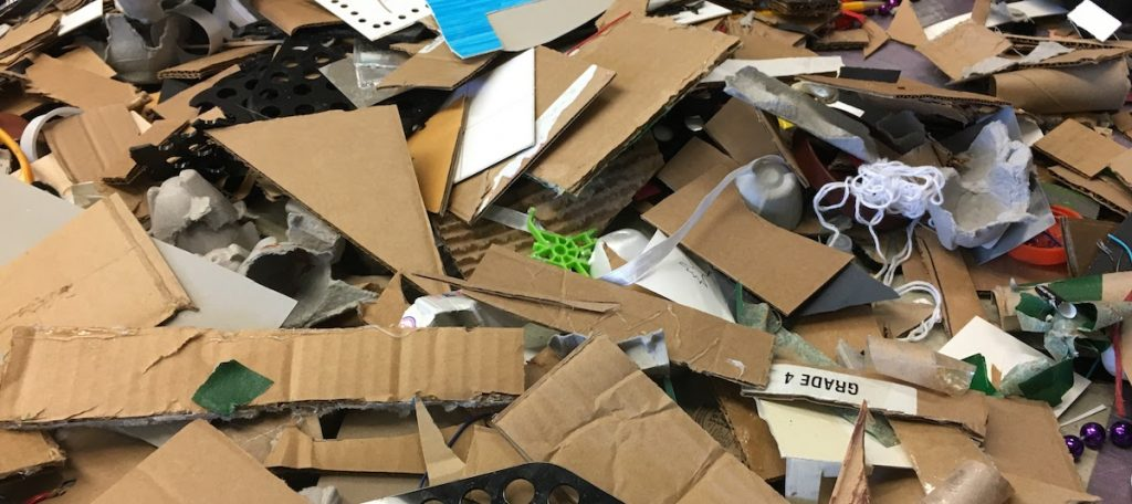 pile of cardboard pieces