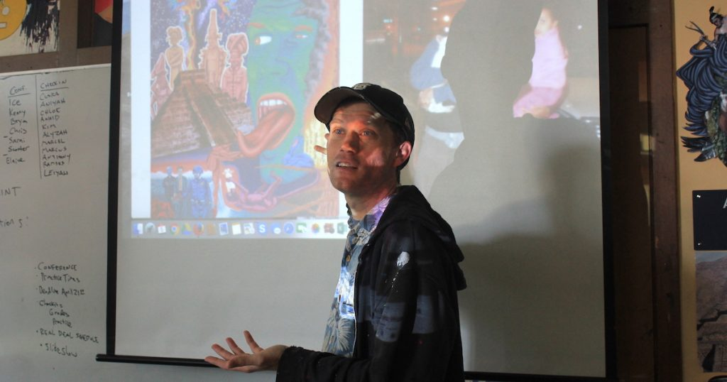 showing artist on a screen