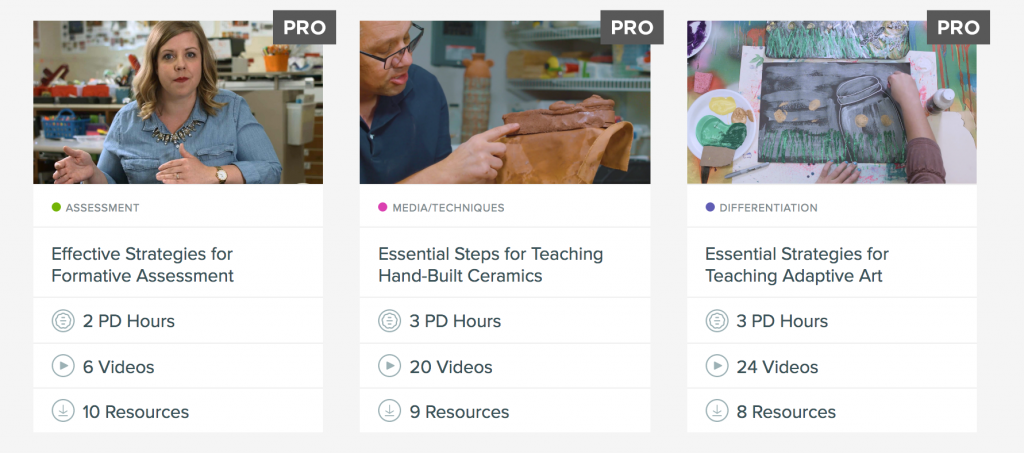 screenshot of PRO Learning Packs