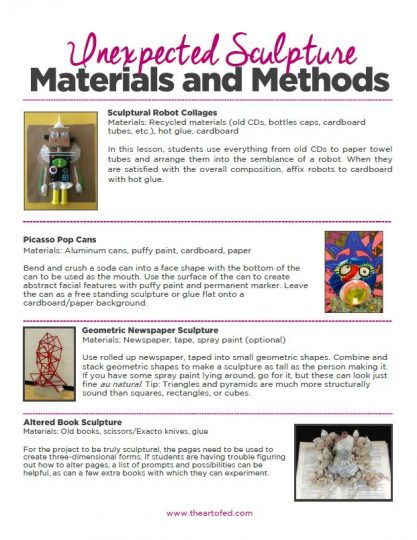 https://uploads.theartofeducation.edu/2017/07/Unexpected-Sculpture-Materials-and-Methods.pdf
