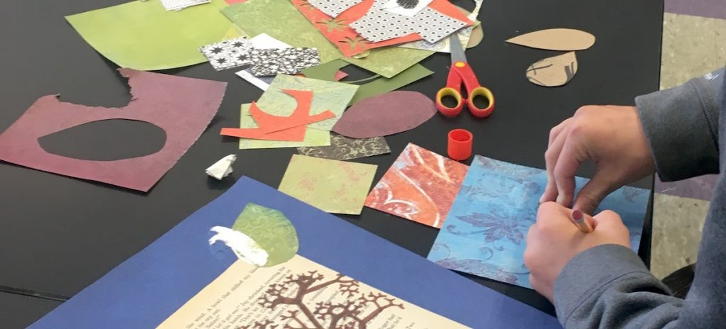 students working on collage