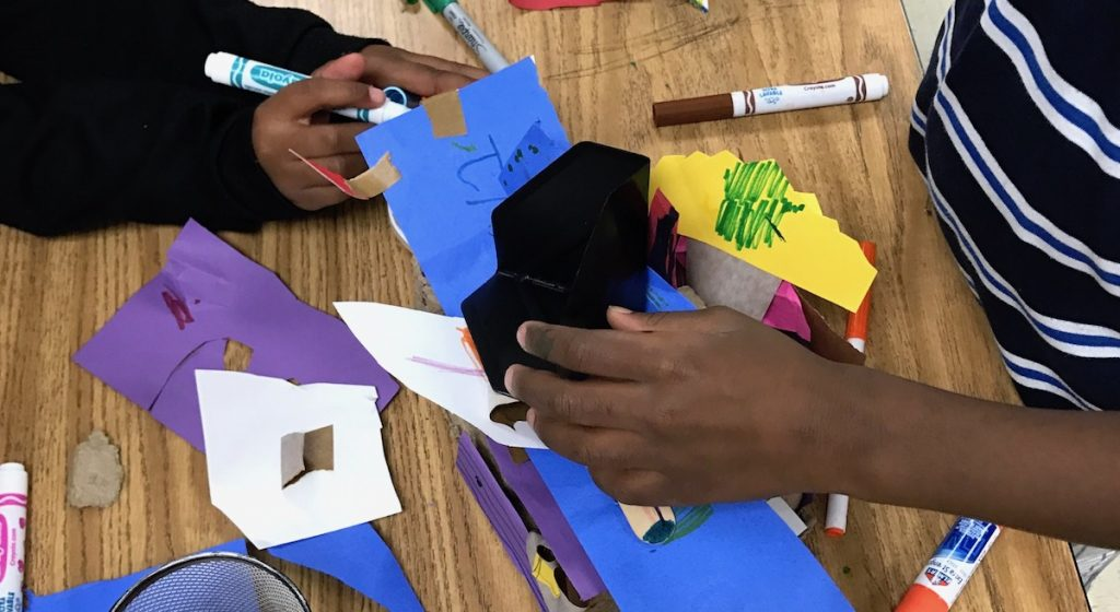 students working with paper