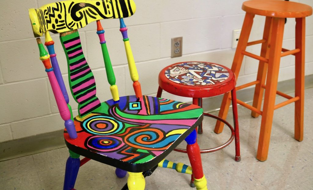 painted chair and stools