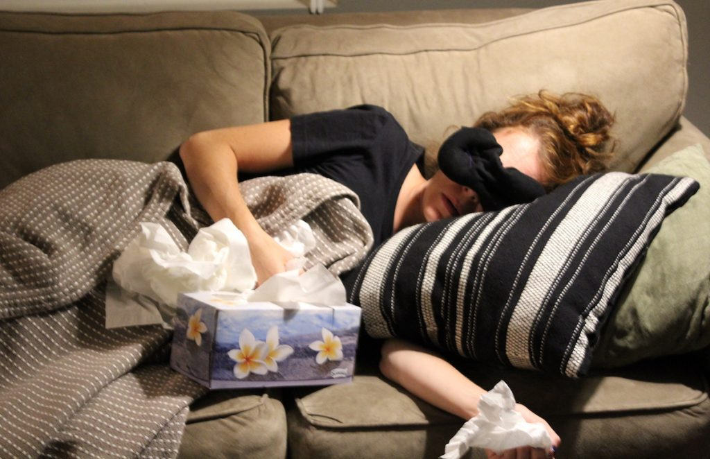 author sick on the couch