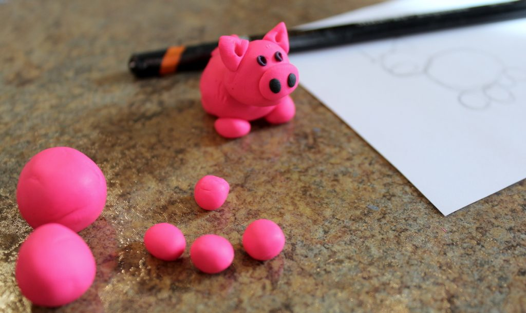 pig made from polymer clay
