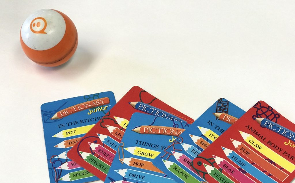 Sphero and Pictionary cards