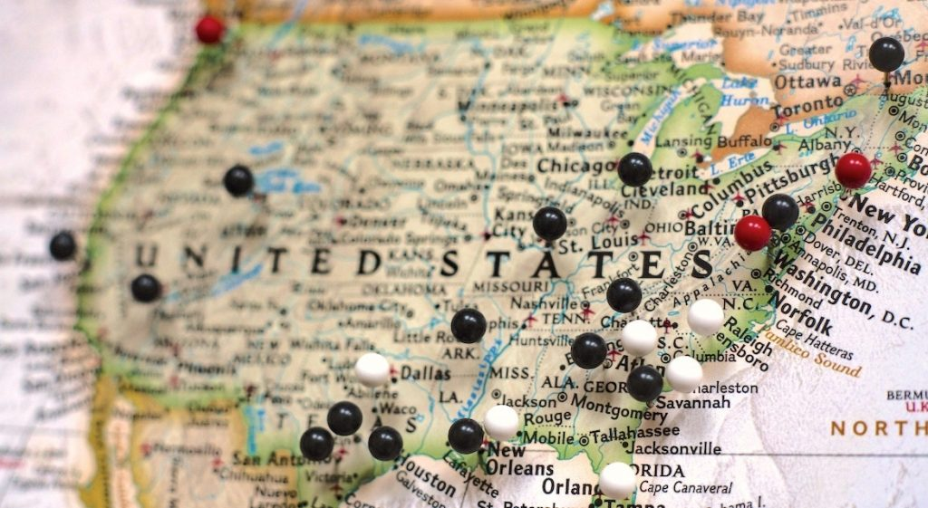 map of US with push pins
