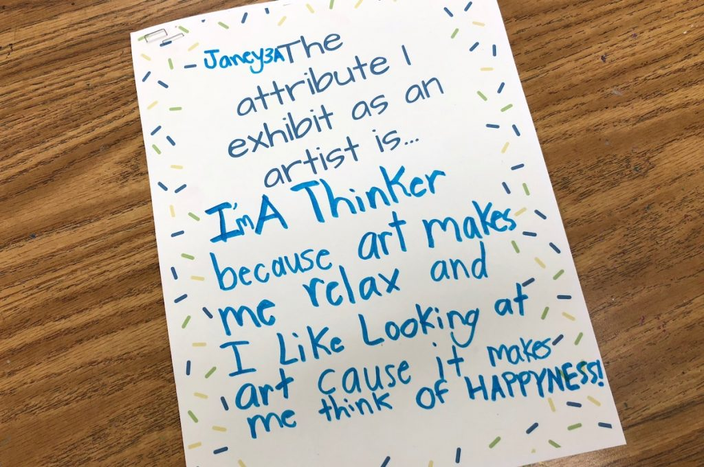 student statement reflecting on attributes