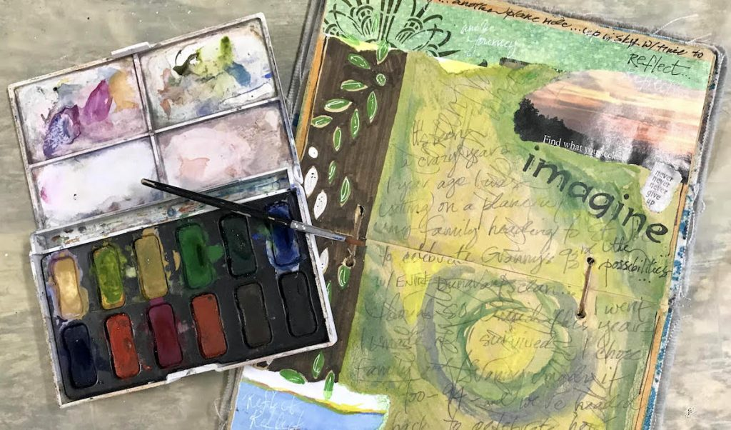 visual journal with watercolor set