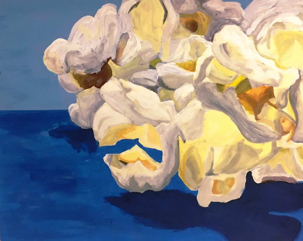 student painting of popcorn