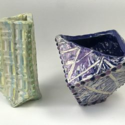 container made from colored clay