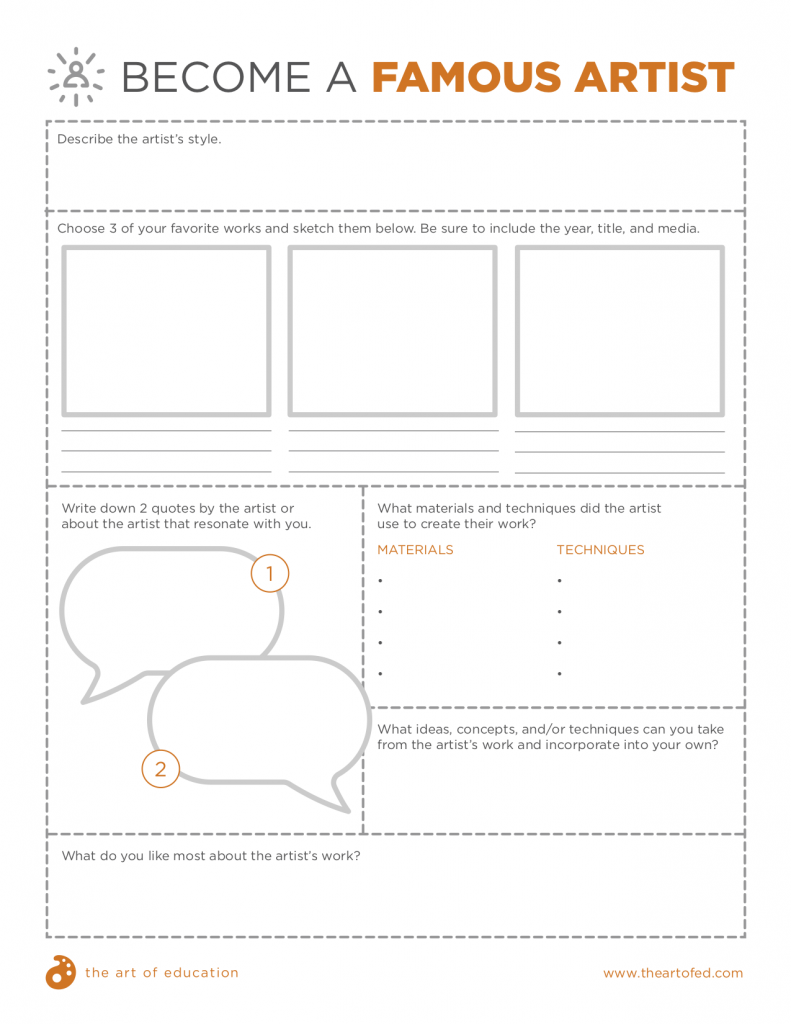 Become a Famous Artist Worksheet