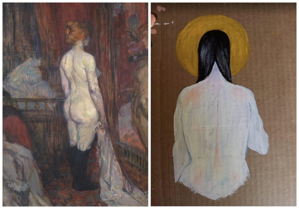 student work next to Woman before a Mirror