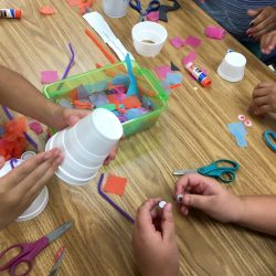 students creating with a variety of materials
